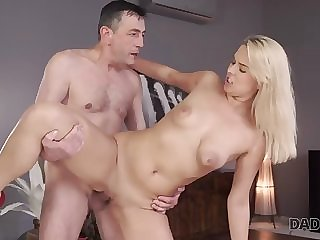 daddy4k. dad and young girl enjoy anal sex near his