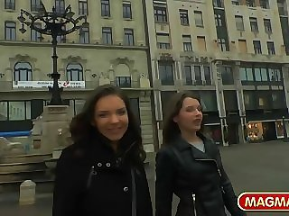 Two Russian BFF's doing anal for money