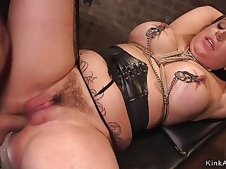 Large-Bosomed pro babe gets assfuck bdsm love making