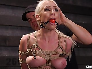 Beautiful full-bosomed blond arse copulated in bdsm