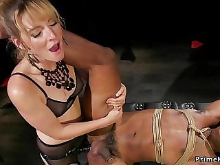 Blond domme ass fucking fucks black male slave