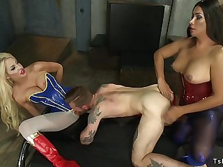 Tranny and male double penetration have intercourse big breasts blond