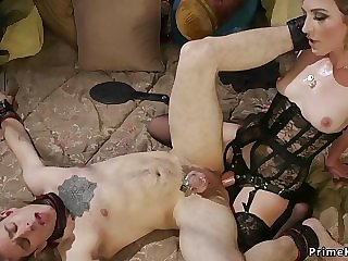 Raunchy blond hair lady domme riding her slaves cock