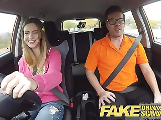 Fake driving school compilation reality video with young chicks & teacher