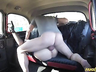 Dirty Czech whore fucked in taxi cab on the backseat in reality video