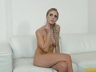 Busty Babe With Long Scythe Waits For Big Cock At Casting