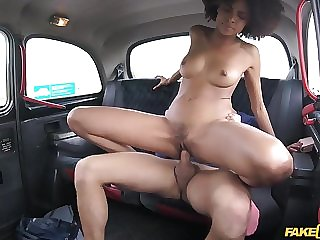 Black stunner fucked in car in interracial reality hardcore
