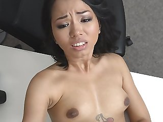 Asian Damsel Gets Gigantic Pink Dick In Her Pierced Pussy
