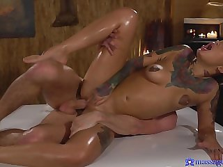 Inked whore Adel Asanty banged by her cocky masseur