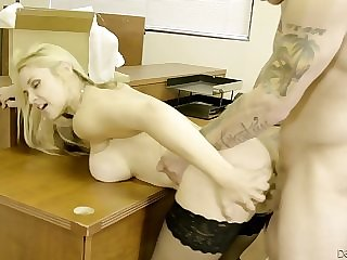 Blonde Office Whore Shows Her Appetitizng Melons To Handsome Dude